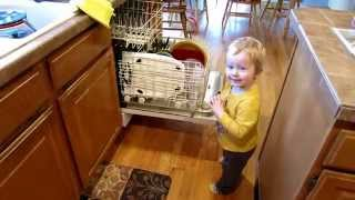 22 Month Old Unloads Dishwasher