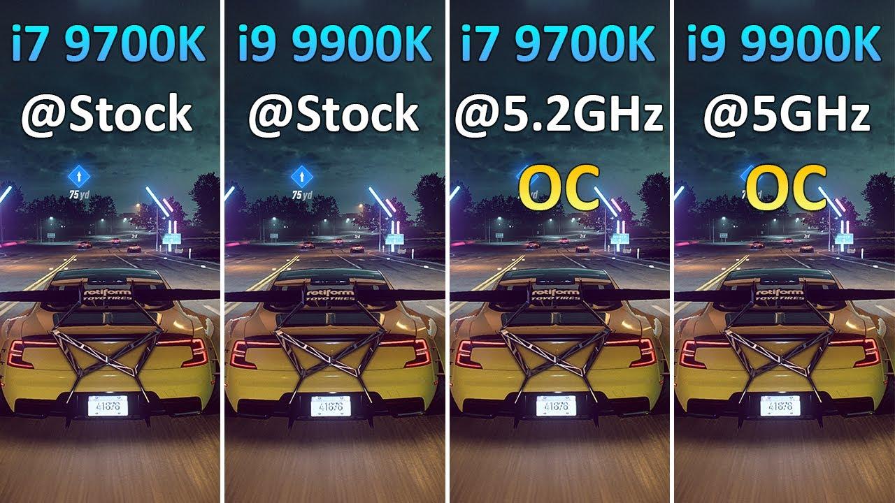 i7 9700K vs i9 9900K vs i7 9700K OC 5.2GHz vs i9 9900K OC 5GHz - Test in 10 Games 1080p 1440p