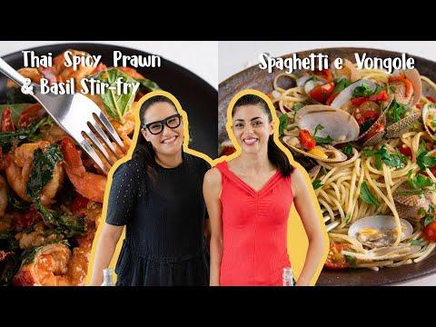 Marion & Silvia Make 20-minute Dinners | Prawn & Basil Stir-fry & Spaghetti Vongole | WOK x POT Ep 3