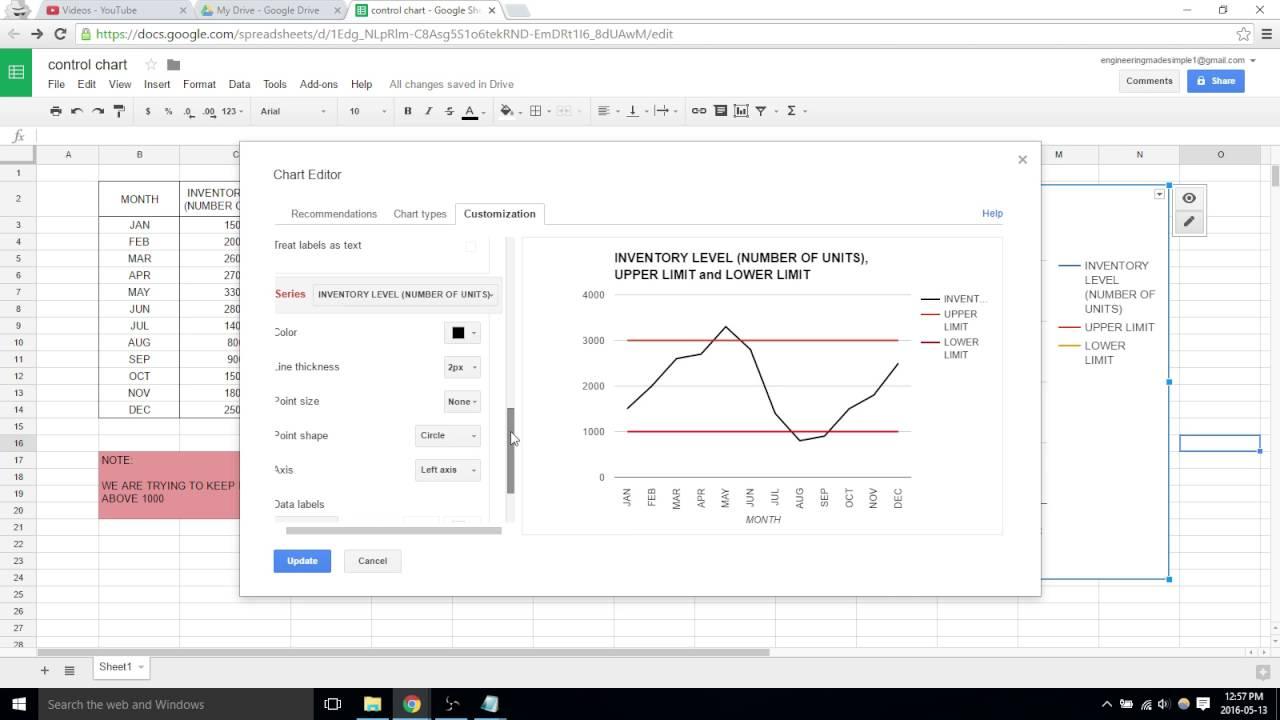 Control chart google sheets video 31 youtube control chart google sheets video 31 ccuart Gallery