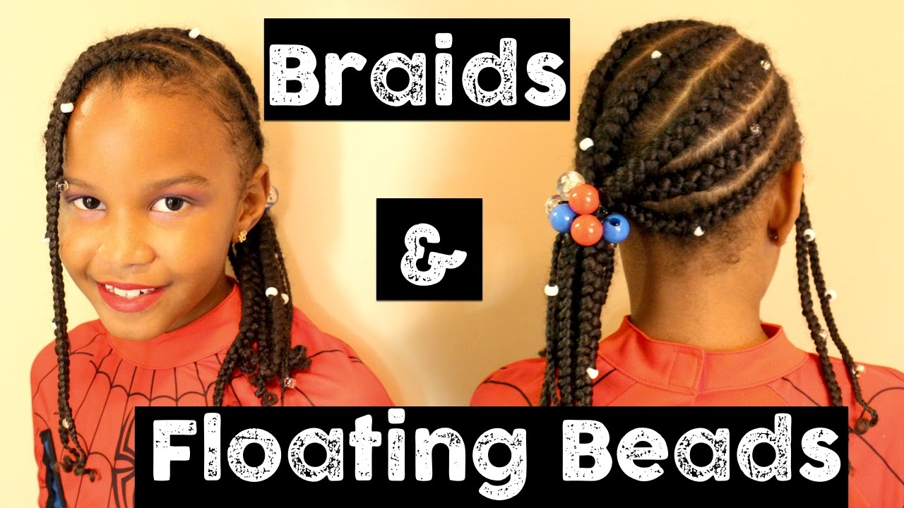 Braids Floating Beads Protective Style For Little Girls Natural Hair For Kids Youtube