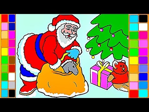 santa claus christmas presents magic coloring videos how to draw and coloring pages for kids
