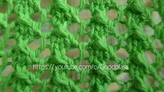 Ажурный узор Сетка. Вязание спицами.