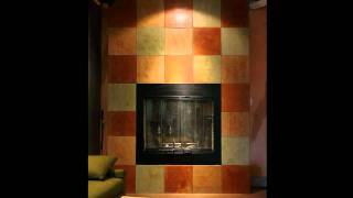 Stained Concrete Fireplace Surround