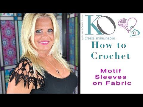 Brooke Crochet Sleeves on Fabric Half Circle Motif Crochet on Fabric