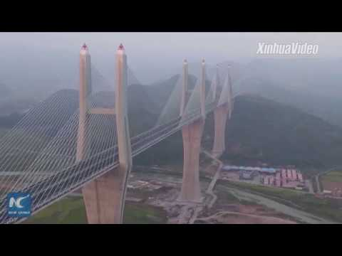 Aerial view of world's first multiple-span cable-stayed bridge