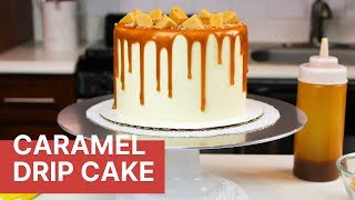 How To Make A Caramel Drip Cake From Scratch | CHELSWEETS