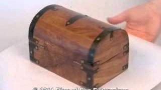 Demonstration Of Our Wooden Treasure Chest Box With Black Metal Accents