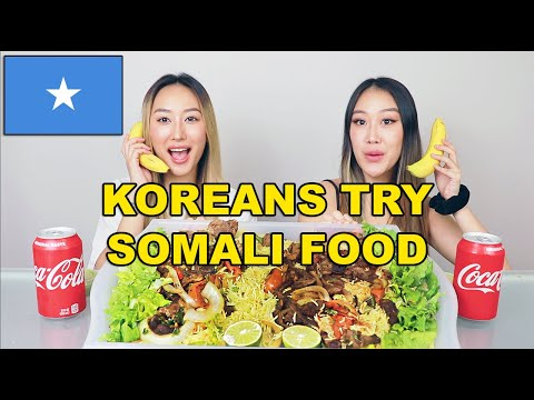 KOREAN SISTERS TRY SOMALI FOOD 🇸🇴 😱 | MUKBANG, GOAT, BEEF, BANANAS