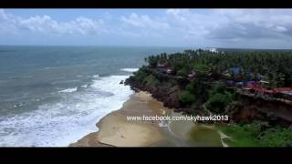 Varkala beach aerial view, Trivandrum, Kerala, India.