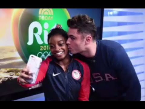 Zac Efron Kisses Simone Biles at Rio Olympics