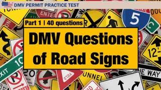 Driving license test: DMV Questions of Road Signs  Part 1