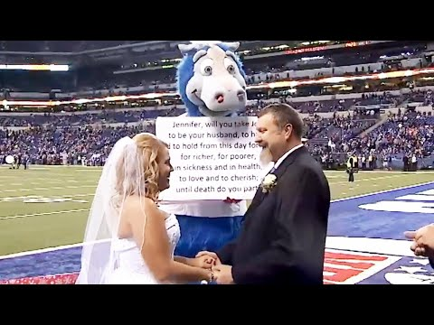 Couple Gets Married by Indianapolis Colts Mascot on Football Field