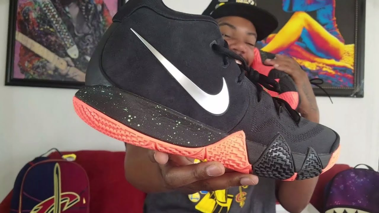 5c5d7f376349 NIKE KYRIE 4 BLACK   ORANGE REVIEW + ON FEET - YouTube