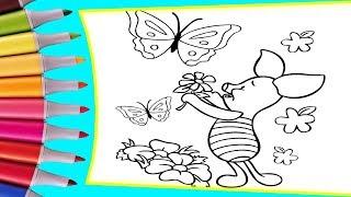 РАСКРАСКИ! Раскрашиваем картинки для детей из мультфильмов Винни Пух, Пятачок с цветами