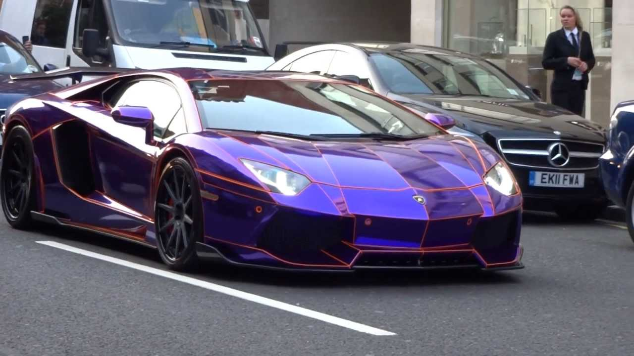Supercars In London 2 Purple Tron Aventador Veyron