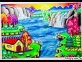Cara menggambar pemandangan Air terjun dan Gradasi warna oil pastel