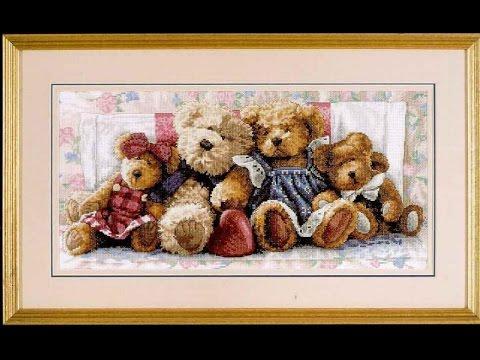 Вышивка медвежья семейка