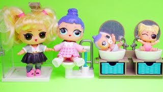 LOL Surprise Dolls Fake Barbies Dress Up for Playmobil Bathroom | Toy Egg Videos Video