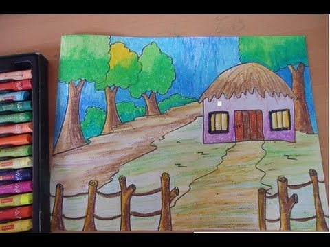 beautiful scenery for kids youtube - Simple Nature Drawing For Kids