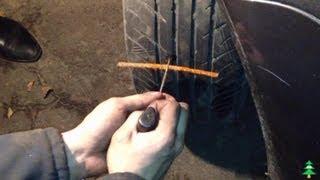 Ремонт колеса(В этом видео мы покажем, как легко и дешево отремонтировать бескамерную покрышку самому в дорожных условия..., 2013-10-10T19:15:29.000Z)