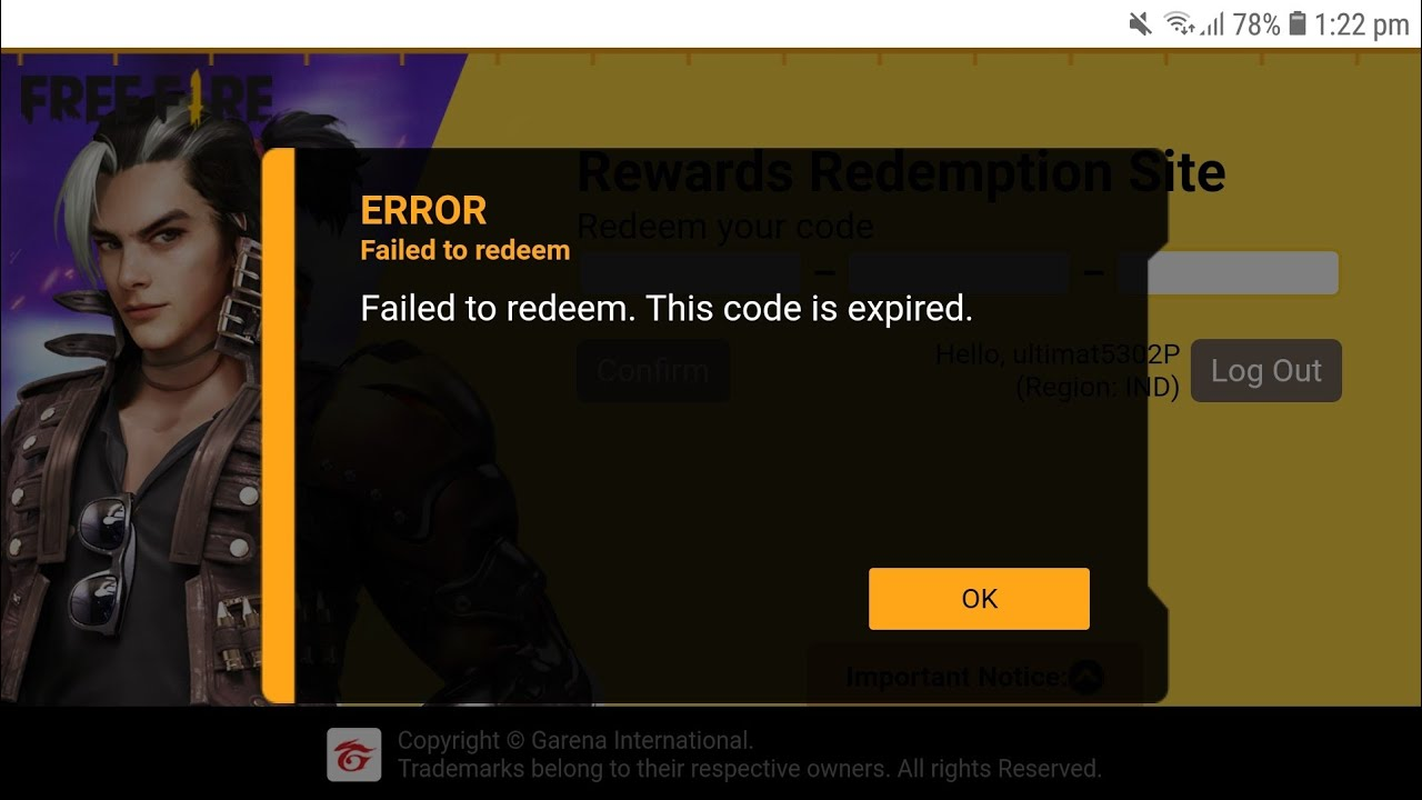Failed To Redeem This Code Is Expired | Free Fire Redeem Code Error Problem | Redeem Code Problem FF