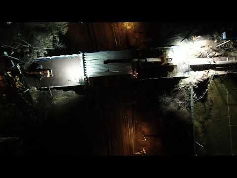 Remont wiaduktu w Radlinie (16.12.2020) - montaż nowych belek nośnych
