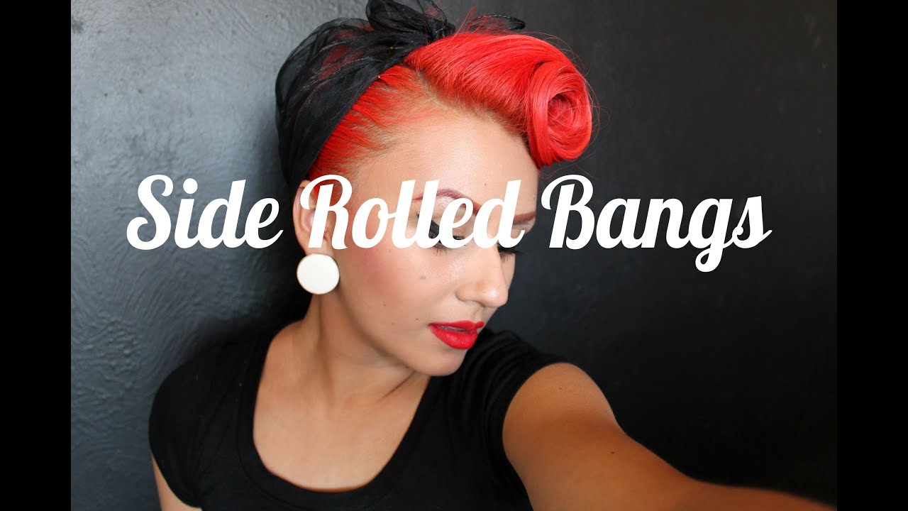 front side rolled bangs pinup hair youtube