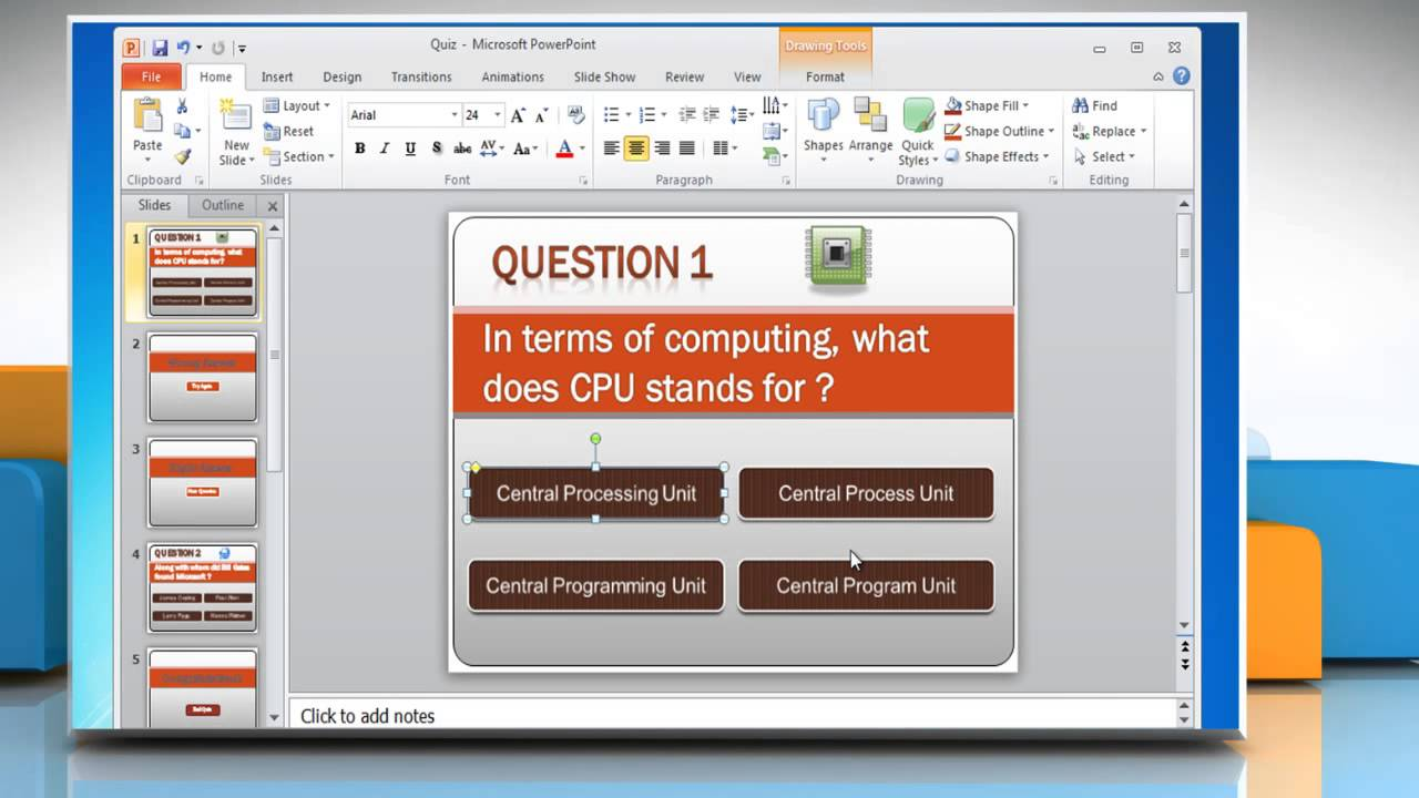 How to make a quiz on powerpoint 2010 youtube for Powerpoint questions and answers template