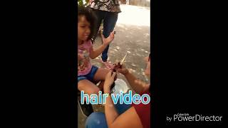 Mom cutting off daughter long hair ( she cry so much after haircut)