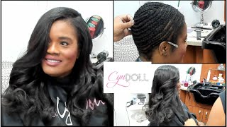 Full sew in with leave out and deep side part!