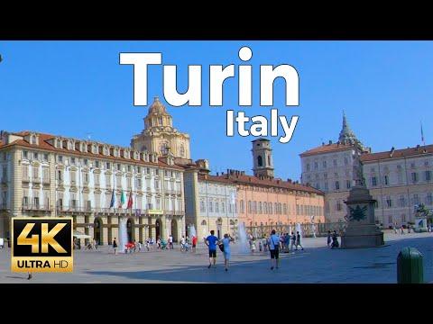 Turin, Italy Walking Tour (4k Ultra HD 60fps)