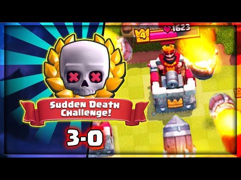**THREE CROWNS** IN SUDDEN DEATH CHALLENGE - CLASH ROYALE TROLLING WITH ROCKETS!!