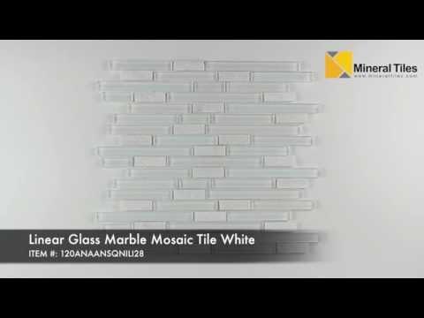 Linear Gl Marble Mosaic Tile White 120anaansqnili28