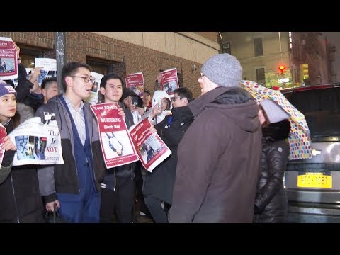 Chinese Overseas Students Protest Against HK Radicals In New York