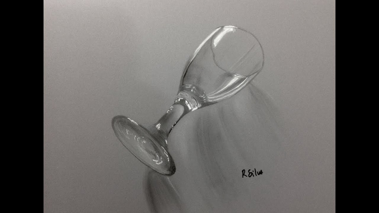 Time Lapse Drawing How To Draw A Hyperrealistic Wine Glass Youtube
