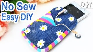 DIY PHONE CASE | 3 POCKETS Jeans FLOWER Case | NO SEW