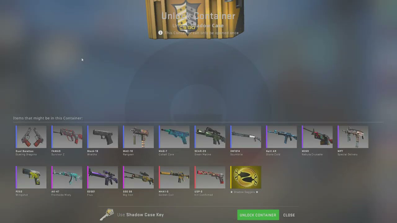 Opening a CS:GO case til a gold appears... DAY 254