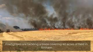 Fire covering 40 acres of field in Binham