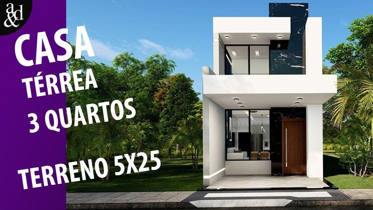 CASA PEQUENA || CASA 3 QUARTOS || EM TERRENO PEQUENO, 5x25 !!! Com a planta humanizada.