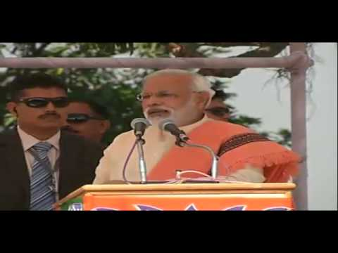Narendra Modi speaking at BJP campaign rally in Shahdol in Madhya Pradesh
