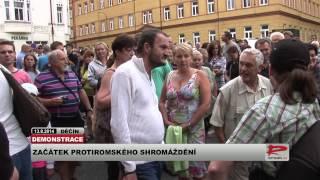 """Začátek protiromské demonstrace v Děčíně aneb """"slušní občané"""" útočí"""