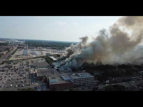 Aerial view of fire on Argyle Road in Windsor's Walkerville area
