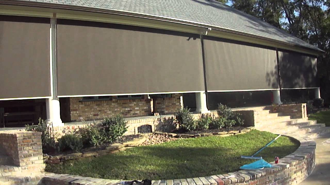 Patio screen houston motorized patio shades houston youtube Motorized porch screens
