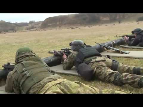 Russian, Belarusian, Serbian military during army exercise.