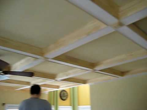 Coffered Ceiling With Crown Moldings Youtube