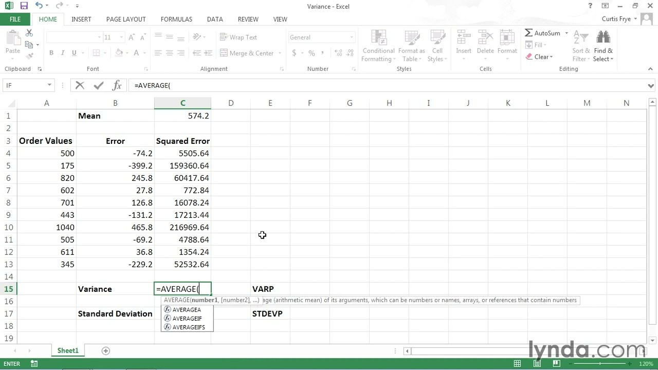 Analyzing data using variance and standard deviation