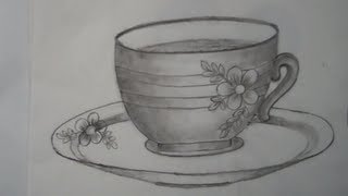 Drawing of a cup and saucer