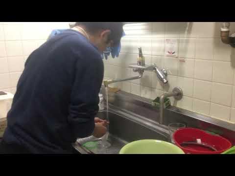 2018/11/29 いのうえさん立位で食器を洗う