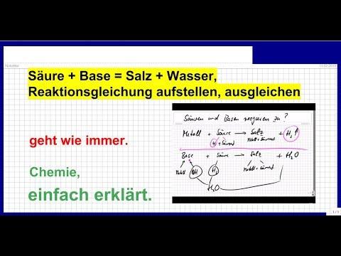 Säuren + Basen = Salze + Wasser, Reaktionsgleichung ...